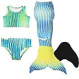 DECOOL Meerjungfrauenflosse Kinder mit Bikini, blau-gelb gestreift