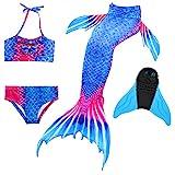 DECOOL Meerjungfrauenflosse Kinder mit Bikini, königsblau